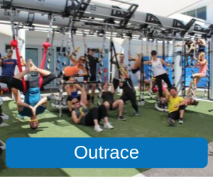 Outrace (Image of the Recreation Centres' Fitness Team posing on the Outrace Training Rig)