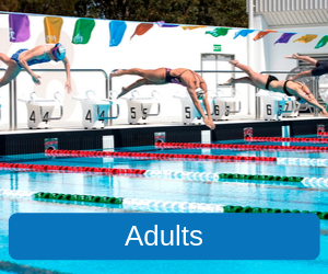 Adults (Image of three women diving into the Mandurah Recreation Centres' 50 metre pool from the dicing blocks)