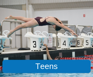 Teens (Image of a female teenager diving into the Mandurah Recreation Centres' 50 metre pool from the diving blocks)
