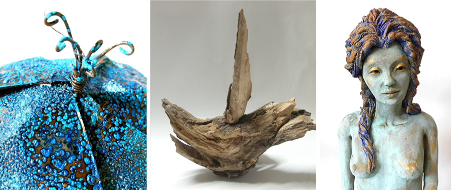 Three images depicting blue orb, wooden sculpture and clay statue