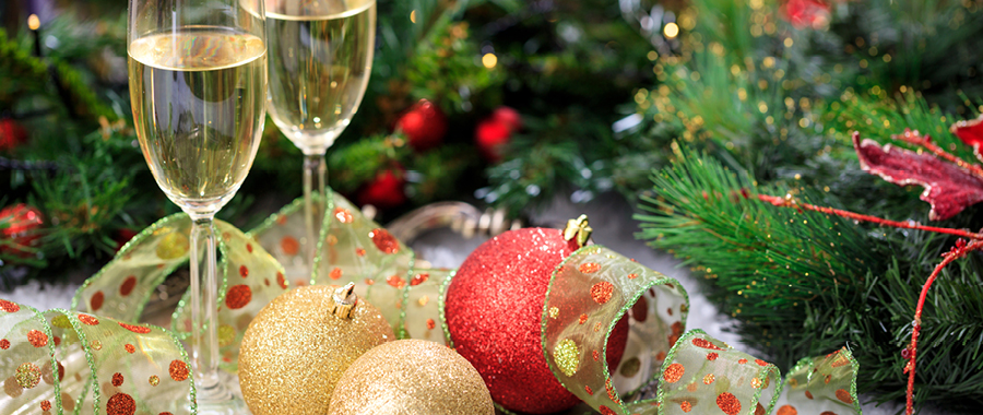 champagne and christmas decorations