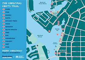View the Mandurah Christmas Lights Trail map