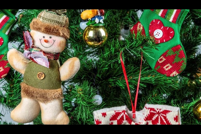 A bear, stocking, shirt and bauble hanging on a green Christmas tree