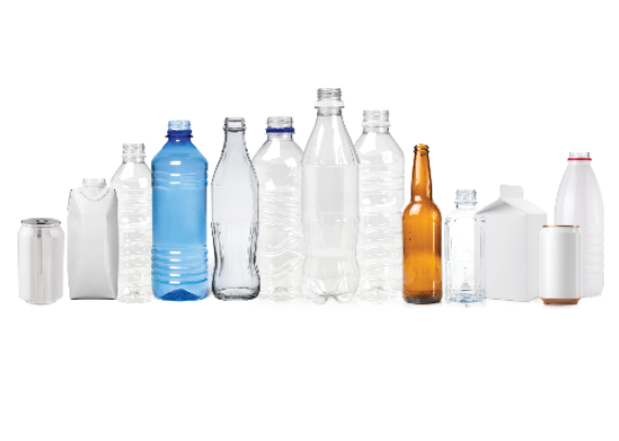 A row of plastic bottles that are available to dispose of in the container deposit scheme