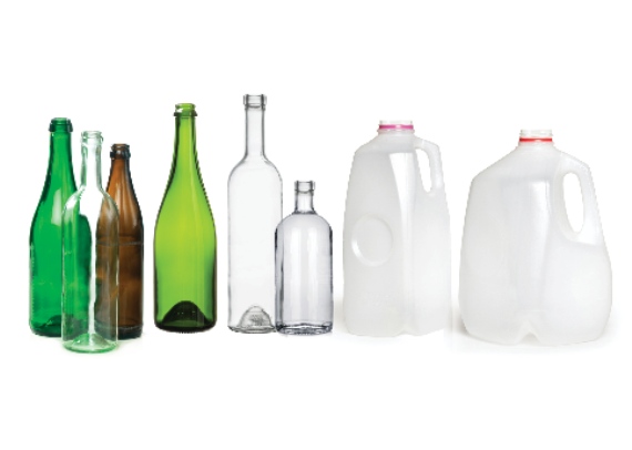 A row of taller bottles and plastic bottles that cannot be disposed of in the container scheme