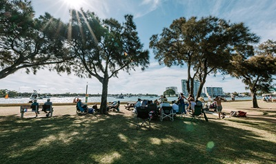 People outside at Mandurah foreshore