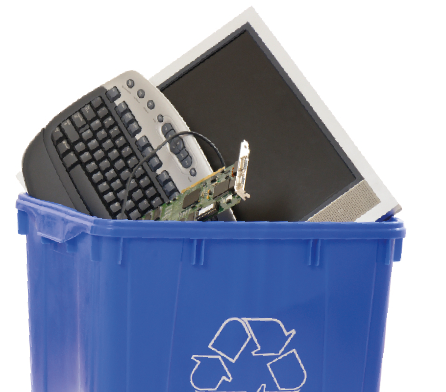 Assorted electronic items in a recycle bin