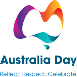 "National Australia Day Council logo with key message ""Reflect. Respect. Celebrate."""