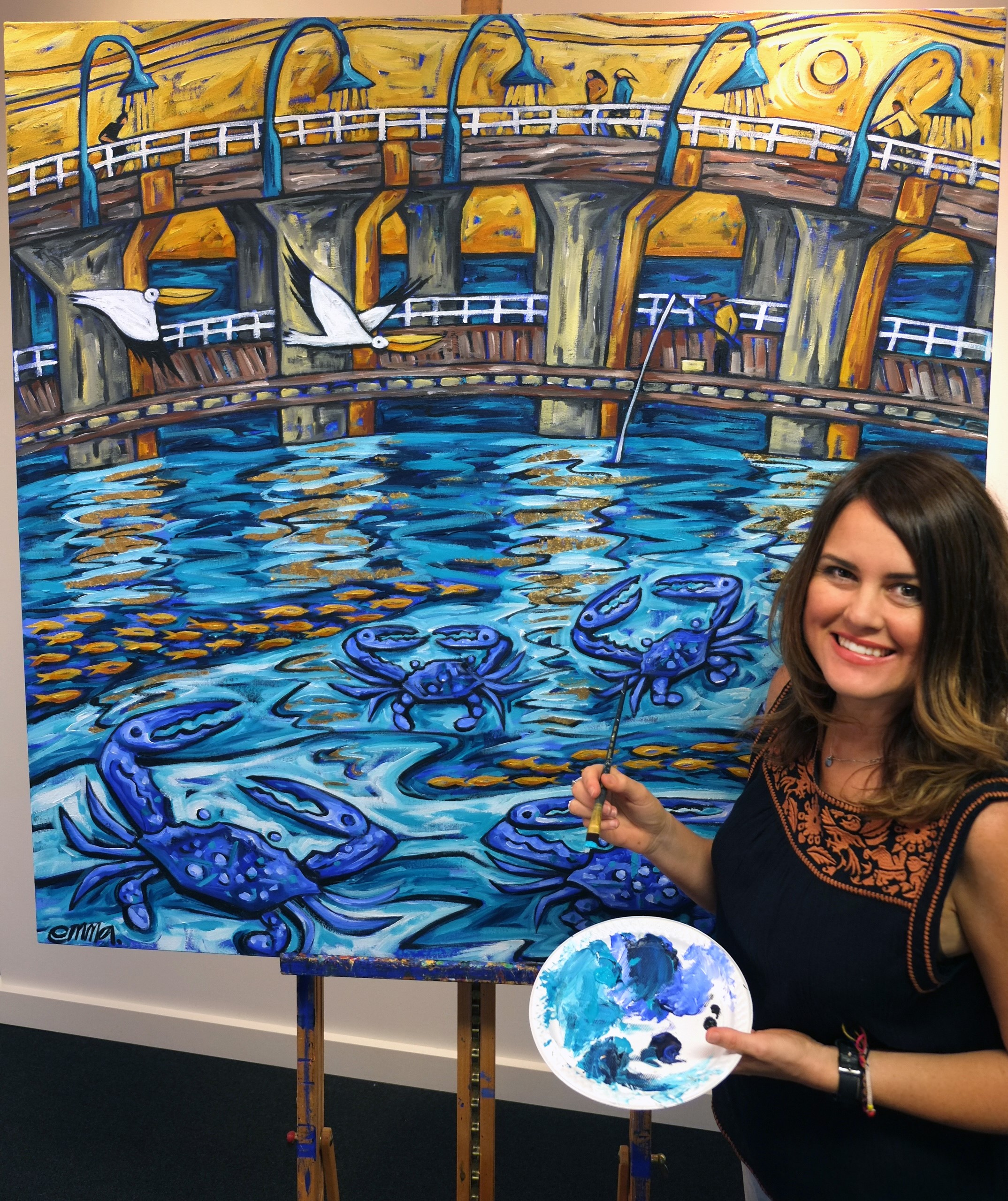 Artist Emma Blyth with her 2017 Crab Fest artwork